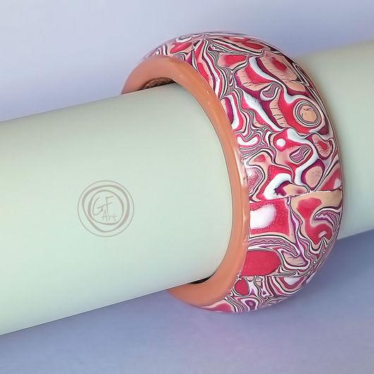 Браслеты ручной работы. Ярмарка Мастеров - ручная работа. Купить Яркий браслет на деревянной основе на узкую руку. Handmade. Gfart