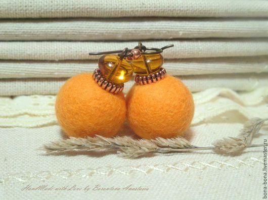 """Серьги ручной работы. Ярмарка Мастеров - ручная работа. Купить Серьги из войлока """"Tangerine day"""". Handmade. Оранжевый, мандарины"""