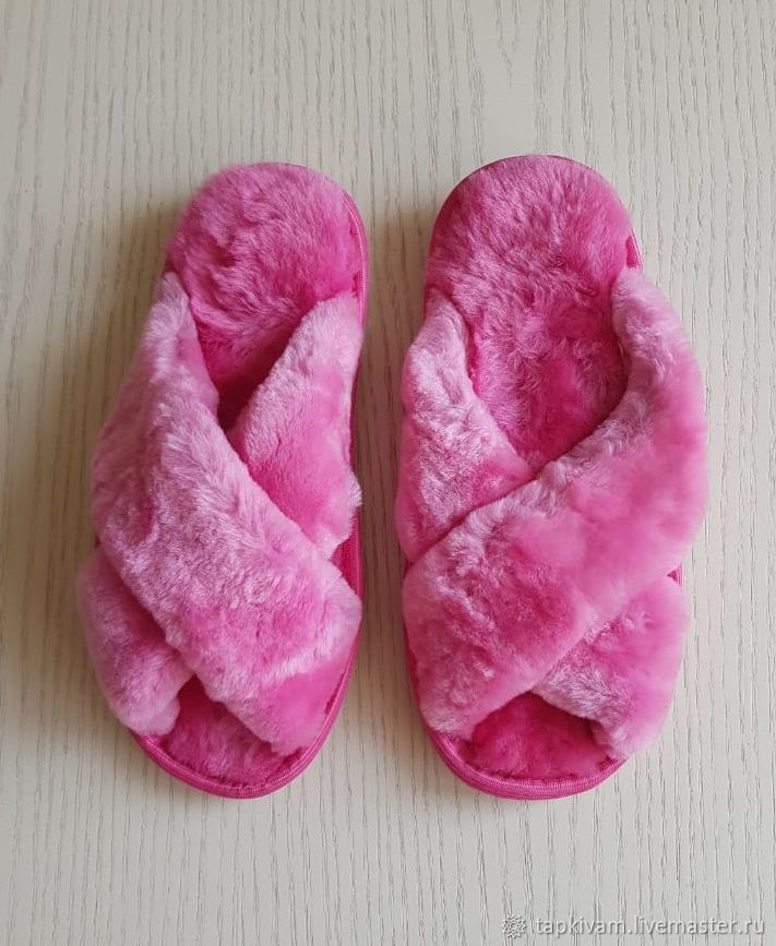 Sheepskin Slippers for women pink ' Crosswise', Slippers, Moscow,  Фото №1