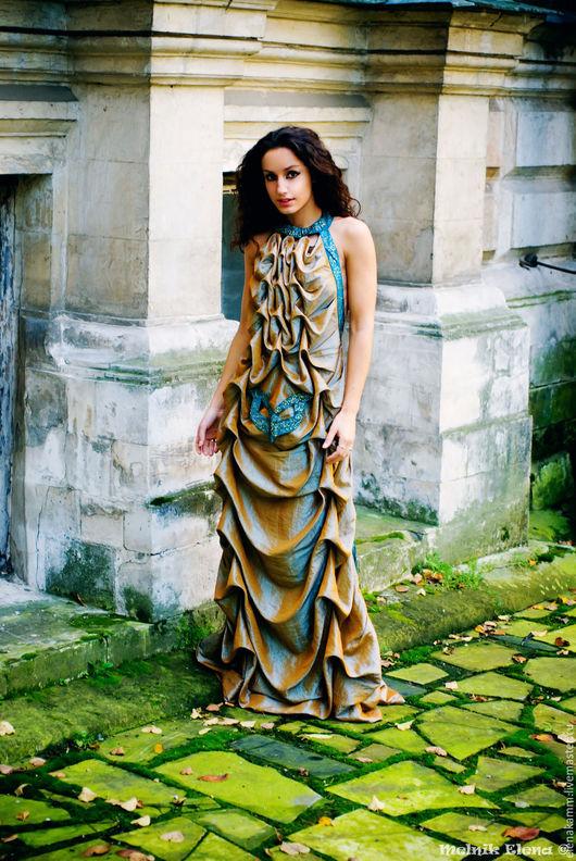 """Платья ручной работы. Ярмарка Мастеров - ручная работа. Купить Платье """"Шторм"""". Handmade. Золотистое платье, дизайнерская одежда"""
