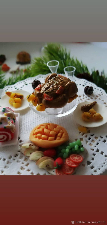 Новогодняя миниатюра запеченая курица индейка утка, Кукольная еда, Москва,  Фото №1