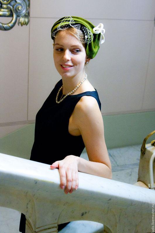 Шляпы ручной работы. Ярмарка Мастеров - ручная работа. Купить Коктейльная шляпка «Ретро вуалетка». Handmade. Хаки, шляпка купить