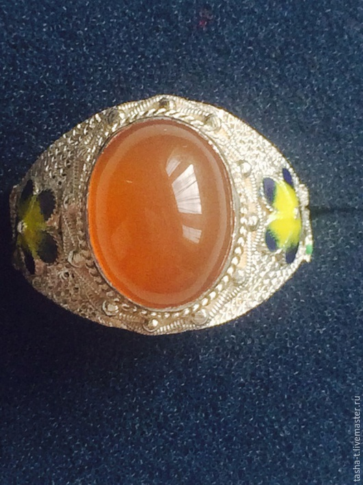Винтажные украшения. Ярмарка Мастеров - ручная работа. Купить Винтажное серебряное кольцо с натуральным сердоликом. Handmade. Серебряный, кольцо с бирюзой