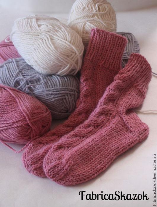 Носки, Чулки ручной работы. Ярмарка Мастеров - ручная работа. Купить Вязаные шерстяные носки Розовая дымка. Handmade. Розовый