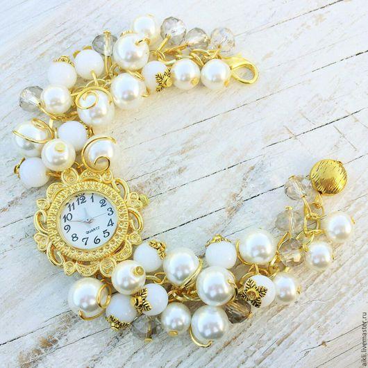 """Часы ручной работы. Ярмарка Мастеров - ручная работа. Купить Часы-браслет """"Белое золото"""". Handmade. Белый, часы с браслетом"""