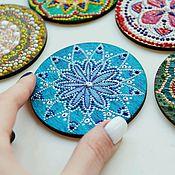 """Картины и панно ручной работы. Ярмарка Мастеров - ручная работа Магнит """"Мандала"""", синий. Handmade."""