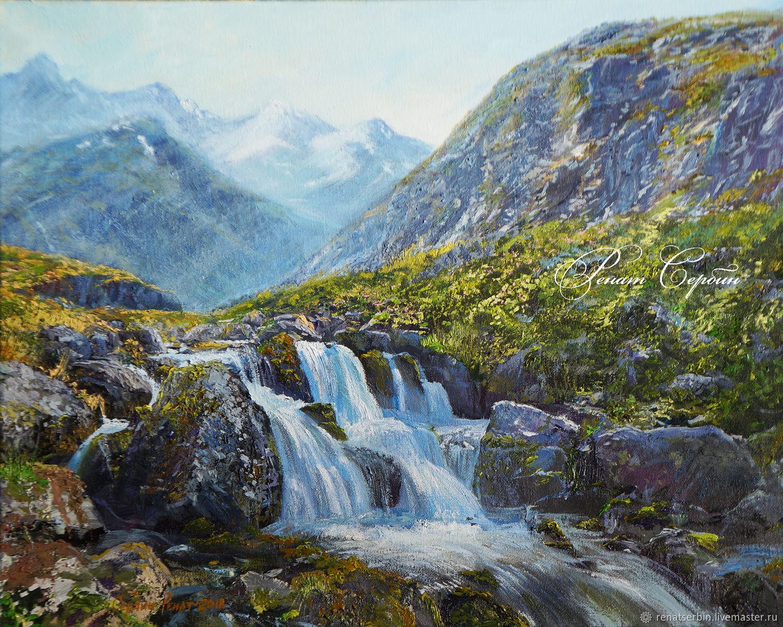 Картина масляными красками водопад, Картины, Уфа, Фото №1