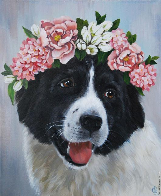 Животные ручной работы. Ярмарка Мастеров - ручная работа. Купить Портрет. Handmade. Голубой, серый, цветы, портрет по фотографии