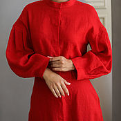 Одежда handmade. Livemaster - original item Linen dress with a stand-up collar in red. Handmade.