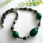 Украшения handmade. Livemaster - original item emerald. Unisex choker with emeralds and hematite. Handmade.