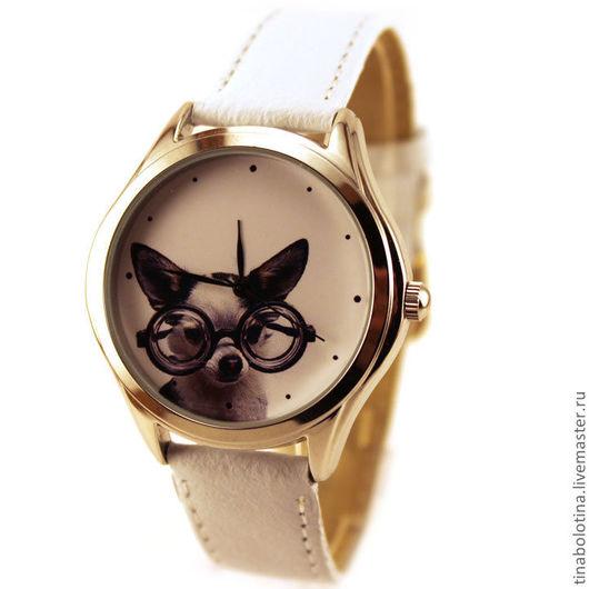 Часы ручной работы. Ярмарка Мастеров - ручная работа. Купить Дизайнерские наручные часы Chihuahua Glam. Handmade. Прикольные часы