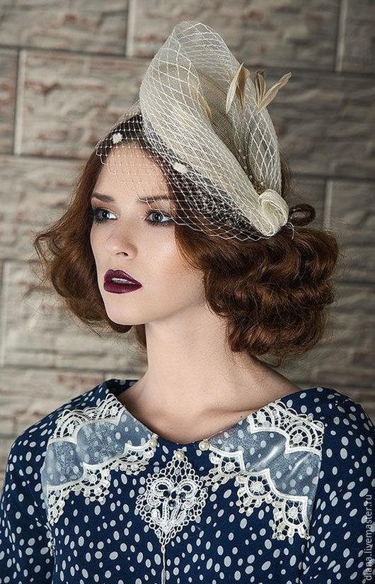 Шляпы ручной работы. Ярмарка Мастеров - ручная работа. Купить Шляпка-вуалетка ретро. Handmade. Бежевый, шляпка, вуалетка невесты