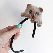 handmade. Livemaster - original item Bezel with beige cat. Handmade.