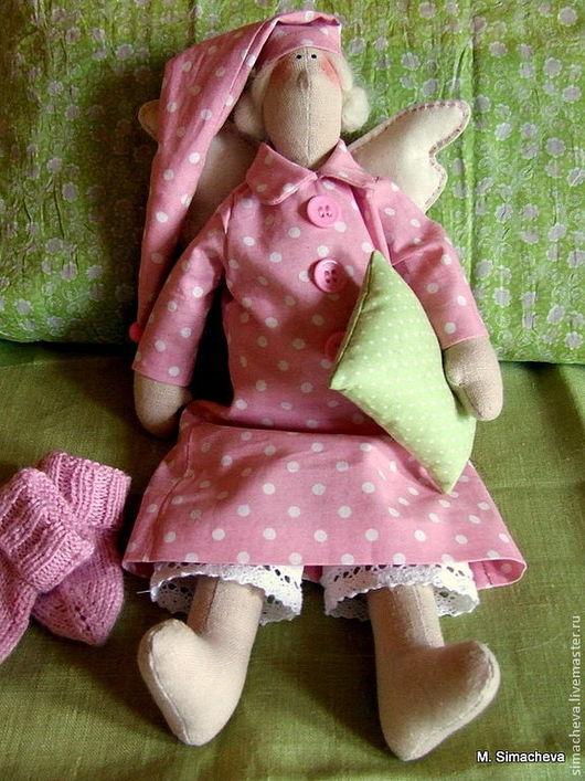 Куклы Тильды ручной работы. Ярмарка Мастеров - ручная работа. Купить Розовый сонный ангел. Handmade. Сплюх, кукла текстильная