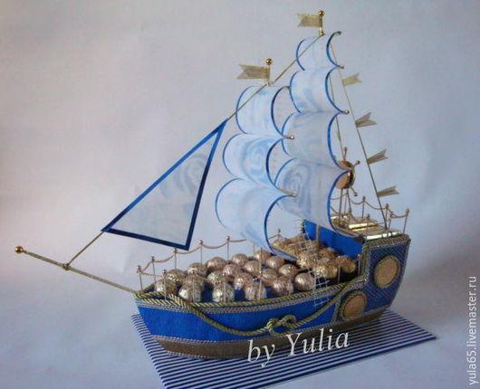 """Букеты ручной работы. Ярмарка Мастеров - ручная работа. Купить Корабль """"Синяя птица"""". Handmade. Корабль из конфет, подарок мужчине"""