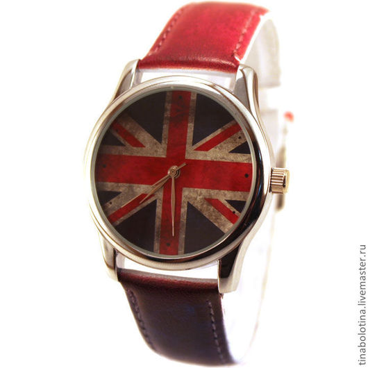 Часы ручной работы. Ярмарка Мастеров - ручная работа. Купить Дизайнерские наручные часы Union Jack под старину. Handmade.