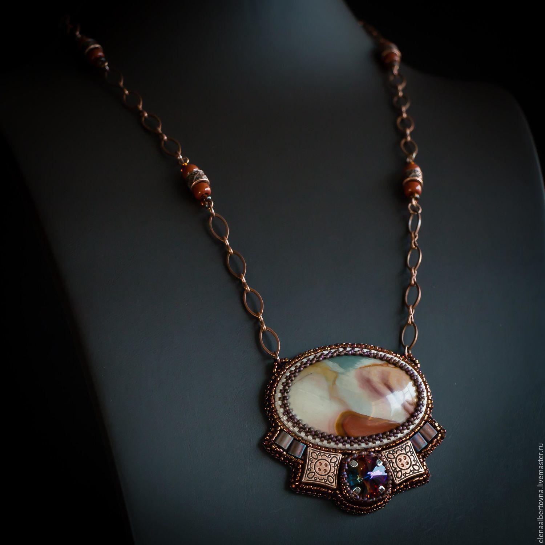 Pendants, pendants handmade. Brown with copper Pendant Journey. Brown.. Elena Piana. Fair Masters. Brown stone. Brown. Brown - copper. The pendant as a gift