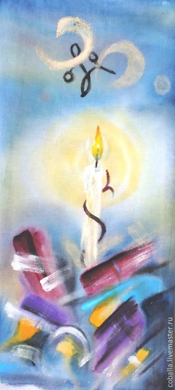 Абстракция ручной работы. Ярмарка Мастеров - ручная работа. Купить Надежда. Handmade. Желтый, свеча, акрил
