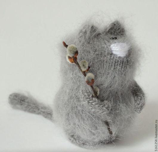 """Миниатюра ручной работы. Ярмарка Мастеров - ручная работа. Купить Вязаный кот """"Эко"""" ( вязаный котик из натурального козьего пуха) рустик. Handmade."""