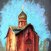 Картины и панно ручной работы. Ярмарка Мастеров - ручная работа Картина с церковью пастель на наждачной бумаге старая красная церковь. Handmade.