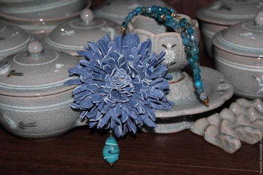 """Колье, бусы ручной работы. Ярмарка Мастеров - ручная работа. Купить Бусы """"Голубая астра"""". Handmade. Голубой, застёжка карабин"""