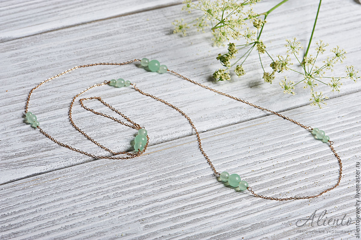 Long chain necklace with mint jadeite beads, Necklace, Moscow,  Фото №1