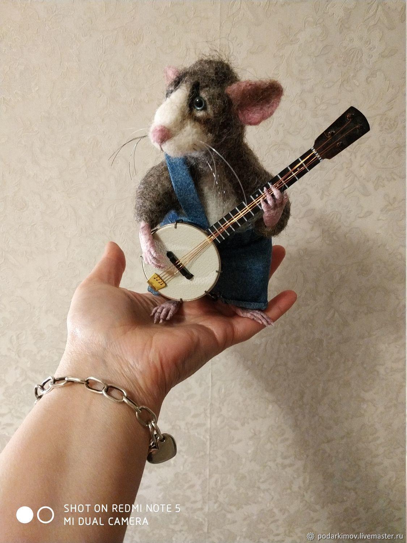 """Крысик """"Джо"""" красавчик и музыкант. Валяная игрушка из шерсти, Войлочная игрушка, Санкт-Петербург,  Фото №1"""
