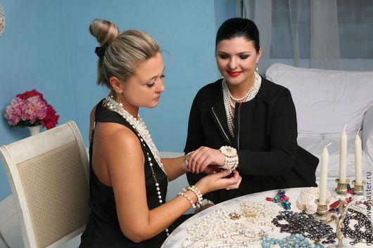 Авторские украшения из натурального жемчуга  ручной работы купить браслеты колье жемчужные ожерелье серьги эксклюзивная  оригинальная стильная нарядная бижутерия Светланы Молодых