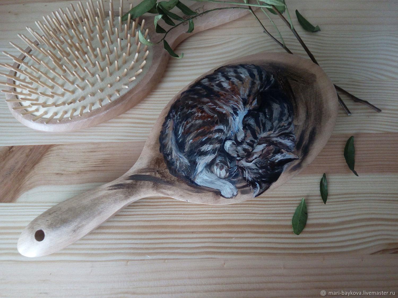 Гребни, расчески ручной работы. Ярмарка Мастеров - ручная работа. Купить Спящий кот. Расческа расписная. Handmade. Подарок