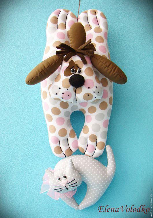 Игрушки животные, ручной работы. Ярмарка Мастеров - ручная работа. Купить Собака и кошка - дверной декор. Handmade. Комбинированный