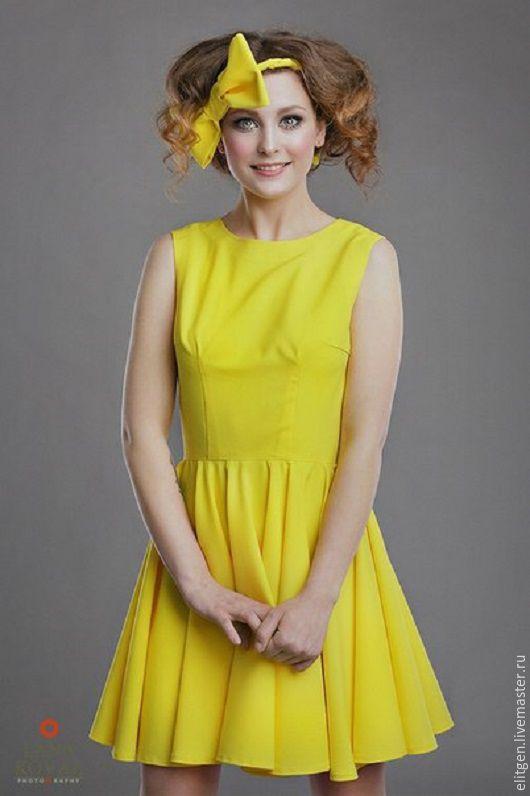 Платья ручной работы. Ярмарка Мастеров - ручная работа. Купить Платье с юбкой солнце. Handmade. Желтый, Платье нарядное