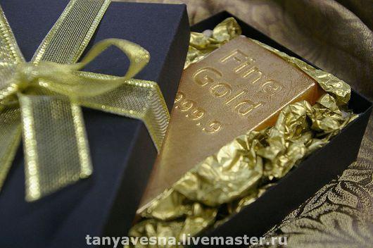 Мыло ручной работы. Ярмарка Мастеров - ручная работа. Купить Мыло Золотой слиток в коробочке - подарок мужчине. Handmade.