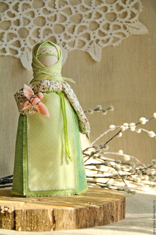 Russian folk dolls handmade.  Tenderness of dawn, buy russian talisman folk doll, Russian tradition, spring, green