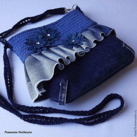 Сумка женская `Лучшая подружка`  Интернет-магазин Ярмарка мастеров Сумка ручной работы, вязаная, с джинсой, с декором