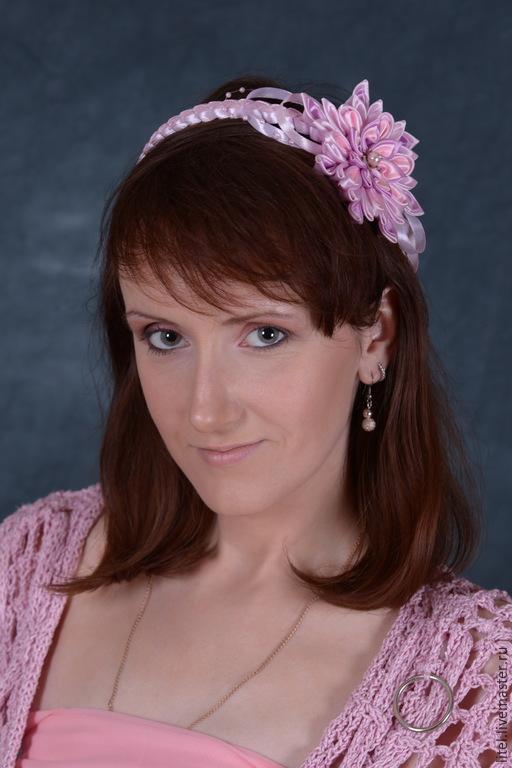 """Диадемы, обручи ручной работы. Ярмарка Мастеров - ручная работа. Купить Ободок """"Принцесса"""". Handmade. Розовый, ободок с цветами, украшение"""