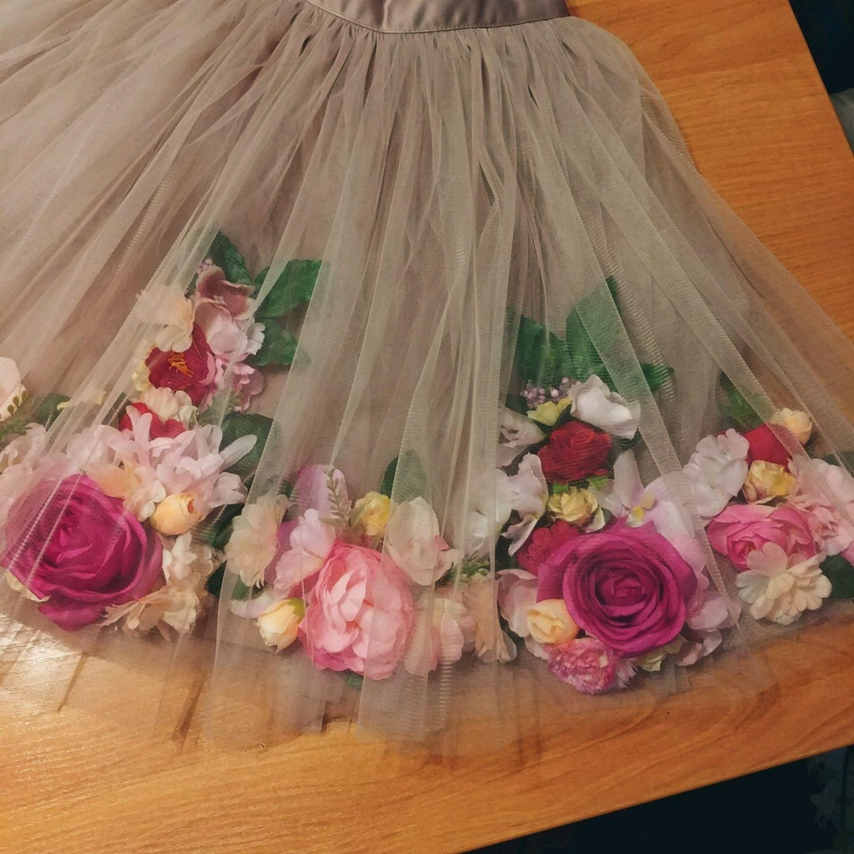 Платье Фатин С Цветами