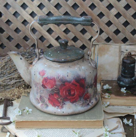 """Кухня ручной работы. Ярмарка Мастеров - ручная работа. Купить """"Бархат роз"""" чайник винтажный. Handmade. Бордовый, садовые розы"""