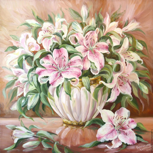 Картины цветов ручной работы. Ярмарка Мастеров - ручная работа. Купить Лилии. Handmade. Кремовый, лилии, бежевый цвет