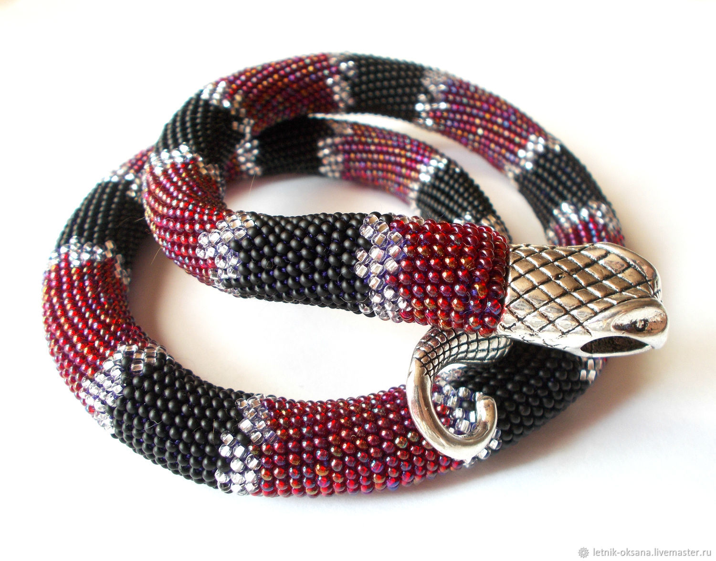 Harness beaded Cherry snake harness crochet, beaded harness – shop
