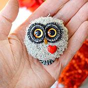 Сувениры и подарки handmade. Livemaster - original item Owl Valentine Brooch. Handmade.