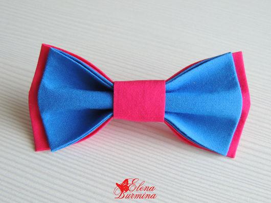 Галстуки, бабочки ручной работы. Ярмарка Мастеров - ручная работа. Купить Бабочка галстук сине-розовая, хлопок. Handmade. Синий