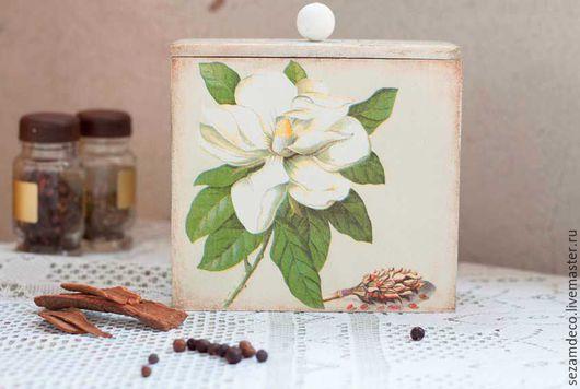 """Кухня ручной работы. Ярмарка Мастеров - ручная работа. Купить Короб для кухни """"Магнолия"""". Handmade. Бежевый, коробка с цветами"""