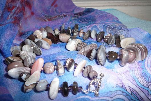 """Колье, бусы ручной работы. Ярмарка Мастеров - ручная работа. Купить Бусы из агата Ботсвана """"Оазис в Калахари"""". Handmade. Разноцветный"""