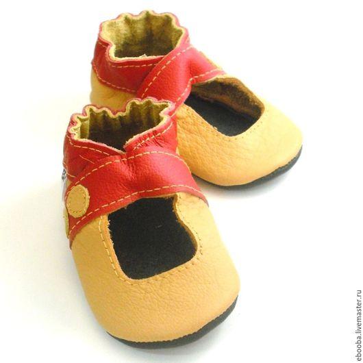 Кожаные чешки тапочки пинетки сандалики жёлтые красные ebooba