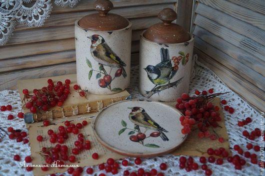 """Кухня ручной работы. Ярмарка Мастеров - ручная работа. Купить """"Птичьи трели""""-набор для кухни. Handmade. Бежевый, Декупаж, щегол"""