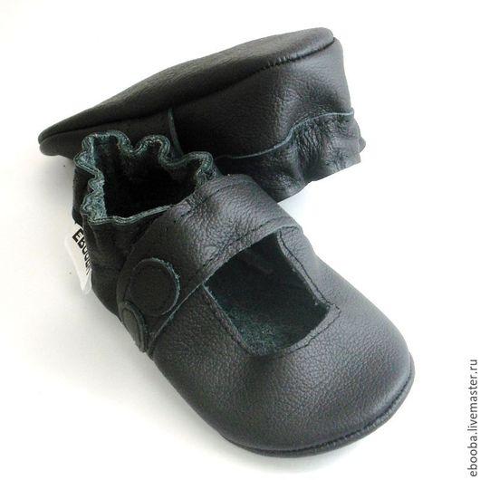 Кожаные чешки тапочки пинетки сандалии чёрные ebooba