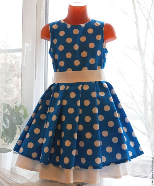 Одежда для девочек, ручной работы. Ярмарка Мастеров - ручная работа. Купить Детское платье синее в горох. Handmade. Голубой
