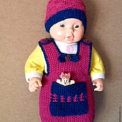 Работы для детей, ручной работы. Ярмарка Мастеров - ручная работа Вязаный комплект безрукавка и шапочка для новорожденной недорого. Handmade.
