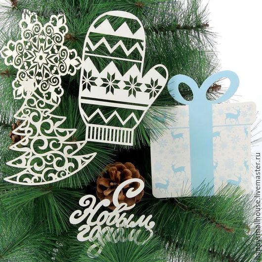 """Упаковка ручной работы. Ярмарка Мастеров - ручная работа. Купить Набор для оформления Нового года """"Подарки"""". Handmade. Белый"""