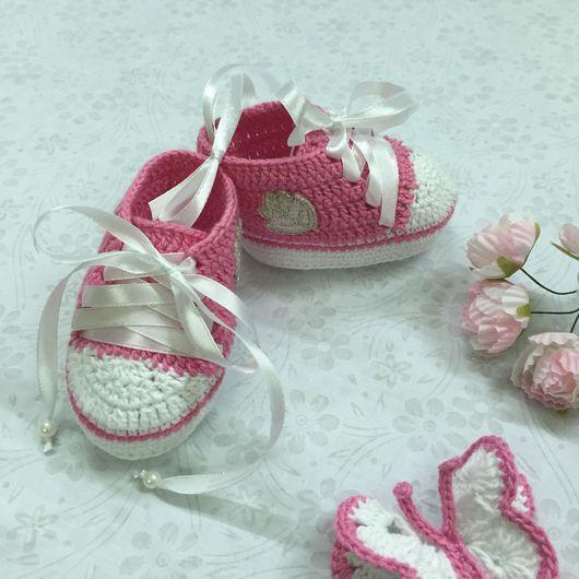 Для новорожденных, ручной работы. Ярмарка Мастеров - ручная работа. Купить Пинетки-кеды для принцессы. Handmade. Пинетки для новорожденных